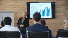 Businesswoman Presenting Financial Report Stock Footage