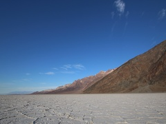 Badwater Basin with mountain in Death Valley National Park, California Stock Footage