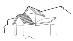 New Home under Construction line drawing sketch animation transparent background Stock Footage