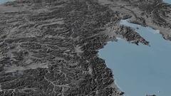 Revolution around Kolyma mountain range - masks. Elevation map Stock Footage