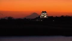 Time-lapse footage of Sekiyado Castle at sunset, Chiba Prefecture, Japan Stock Footage