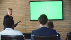 Businessman Asking Questions during Presentation Stock Footage