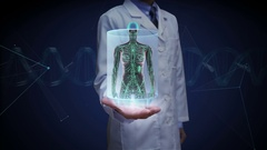 Doctor open palm, Female Human body scanning lymphatic system. Blue X-ray light. Stock Footage