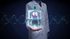 Doctor open palm, Scanning body. Rotating Human Female lungs, Diagnostics Stock Footage