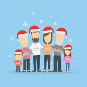 Big happy family in Christmas hats. Stock Illustration