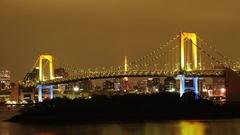 Time-lapse footage of  Rainbow bridge at night, Tokyo, Japan Stock Footage