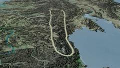 Revolution around Kolyma mountain range - glowed. Topographic map Stock Footage