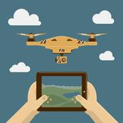 Vector Illustration with drone and remote control on tablet pc Stock Illustration