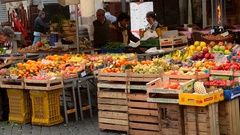Street market with farm agricultural products Stock Footage