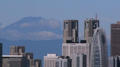 Above view of Shinjuku area and Mount Fuji, Tokyo, Japan Stock Footage