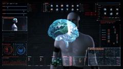 Robot touching digital screen, humanoid, Brain in digital display dashboard. Stock Footage