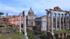Roman Forum - ancient architectural monuments in Rome, Italy. Archeological dig. Stock Footage