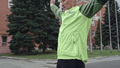Senior Man Doing Shoulder and Arm Stretches  Stock Footage