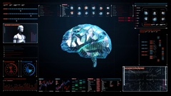 Low polygon Brain, digital lines in digital display, artificial intelligence. Stock Footage