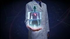 Doctor open palm, scanning heart. Human cardiovascular system. Blue X-ray light. Stock Footage