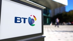 Street signage board with BT Group logo. Blurred office center and walking Stock Footage