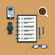 Todo list on workplace Stock Illustration