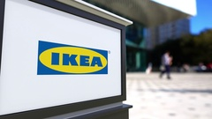 Street signage board with Ikea logo. Blurred office center and walking people Stock Footage