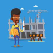 Engineer with hard hat and blueprint Stock Illustration