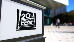 Street signage board with Twentieth Century Fox Film Corporation logo Stock Footage