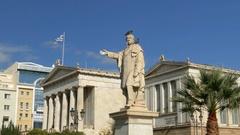 4K Old University Library Athens Athina Athen Greece Europe Stock Footage
