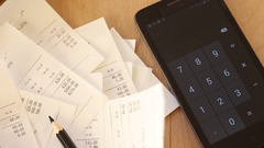 Grocery Receipts. Expense tracker. Spending control Stock Footage