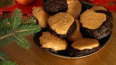 Brownie Cookies With Peanut Butter Top Stock Footage
