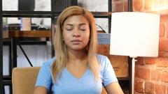 Gesture of Yes, Shaking Head, Black Girl Portrait Stock Footage