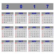 Create demo 2017 calendar template Stock Illustration