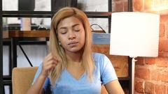 Headache, Tense Upset Black Girl, Portrait Stock Footage