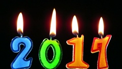 Candles burning for the year 2017 Stock Footage