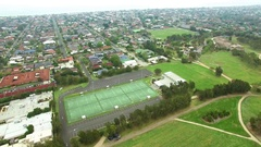 Slow descend near netball courts at Chelsea Womens Sports Centre, Melbourne Stock Footage