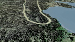 Glide over Kolyma mountain range - glowed. Topographic map Stock Footage