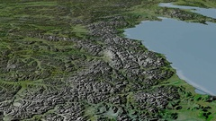 Glide over Kolyma mountain range - masks. Satellite imagery Stock Footage
