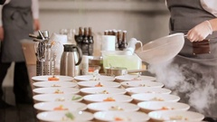 Desserts before main courses. Desserts at celebrations. Beautiful arrangement of Stock Footage