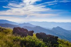 Doi Pha Tang viewpoint ,Chiang Rai province in Thailand.  beautiful location Stock Photos