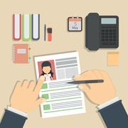 Supervising and accepting resume. Stock Illustration