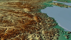 Glide over Kolyma mountain range - masks. Relief map Stock Footage