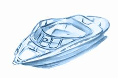 Watercolor motor boat. Stock Illustration