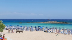 Beach paradise with Blue Lagune in Cyprus Stock Footage