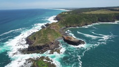 Slow descend towards Cape Schanck Pulpit Rock  Melbourne, Victoria, Aus Stock Footage