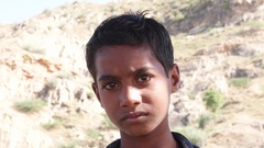 Portrait of a young Indian boy getting frightened and scared  Stock Footage