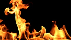 Flame burning of closeup on transparent background. Stock Footage