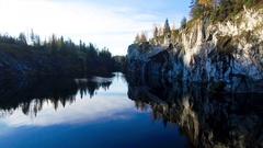 Marble rock in Karelia Stock Footage