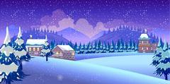 Winter Nature landscape Stock Illustration