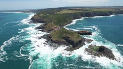 Flight along ocean coastline around Cape Schanck Pulpit Rock  Melbourne Stock Footage