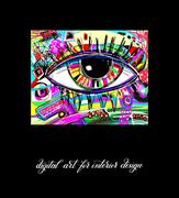 Original contemporary digital eye painting artwork to printable Stock Illustration