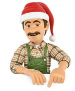 3D Gardener pointing down with a Santa Claus hat. Blank space Stock Illustration