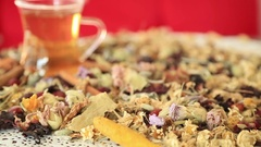 Tea with different kind of healing herbs 2 Stock Footage