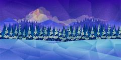 Winter forest, vector background low poly style Stock Illustration